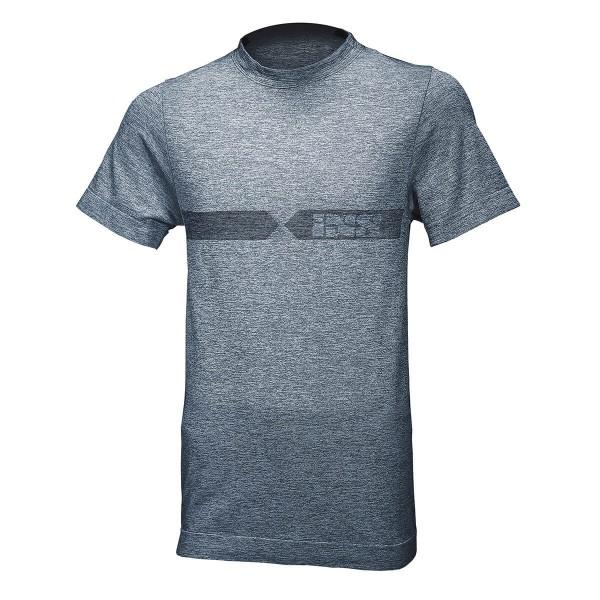 Funktions-Shirt Melange weiss-blau